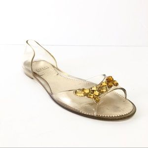 Stuart Weitzman Clear Jelly and Yellow Stones Shoe
